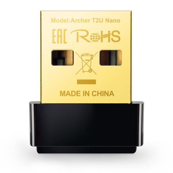 "ADAPTOR RETEA TP-LINK AC600, extern wireless 2.4 GHz | 5 GHz, USB 2.0, port, 433 Mbps, antena interna x 1, ""Archer T2U Nano"" (include TV 0.15 lei)"