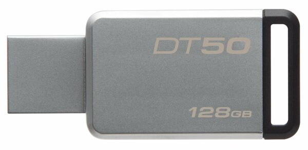 """MEMORIE USB 3.1 KINGSTON 128 GB, profil mic, carcasa metalic, argintiu, """"DT50/128GB"""""""