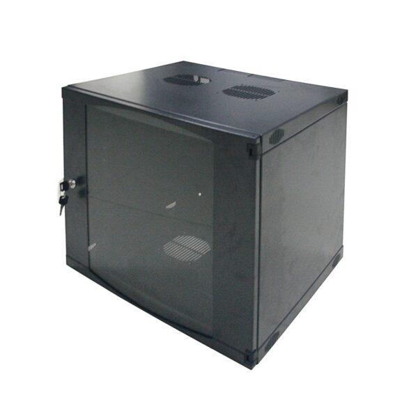 """CABINET 19″ LOGILINK 9U, fixare pe perete, Flatpack (dezasamblat), Black, 460 (h) x 540 (w) x 450 (d) mm, usa sticla cu blocare, otel 1.2mm, sarcina maxima 30Kg, """"W09F64B"""""""