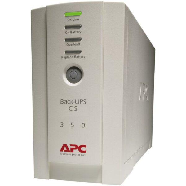 "UPS APC, ""Back-UPS CS"", offline cu sinusoida simulata, mini tower, 350VA/210W, IEC x 4, 1 x baterie RBC2, LED, back-up 11 – 20 min., ""BK350EI"", SP prelungire garantie(WBEXTWAR1YR-SP-01/WBEXTWAR3YR-SP-01),"