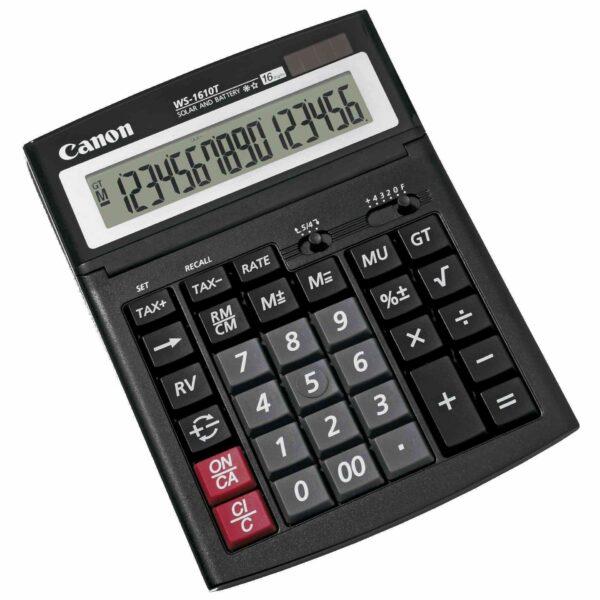 """Calculator de birou CANON, WS1610T, ecran 16 digiti, alimentare solara si baterie, negru, include TV 0.1 lei ,""""BE0696B001AA"""""""
