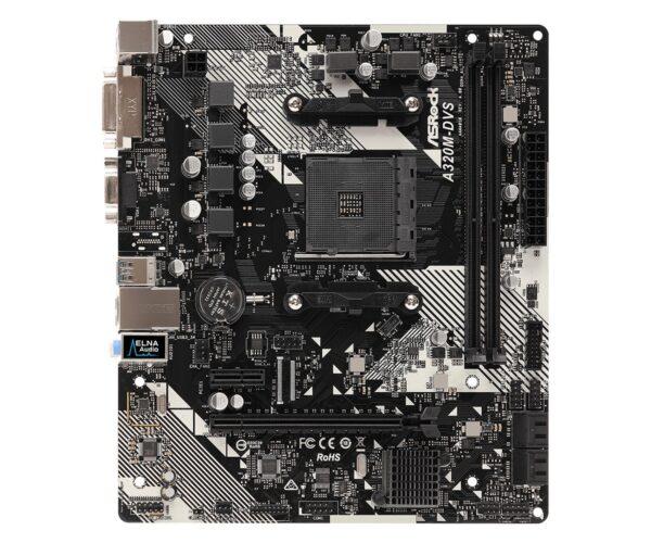 """PLACA de BAZA Asrock A320M-DVS R4.0, skt AM4, AMD A320, mATX, slot RAM 2 x DDR4, max 32 GB, 4x S-ATA 3, nux M.2, 1x PCI-E, PCI-E3.0x16 x 1, LAN 1000 Mbps, DVI, VGA, 7.1, """"A320M-DVS R4.0"""""""