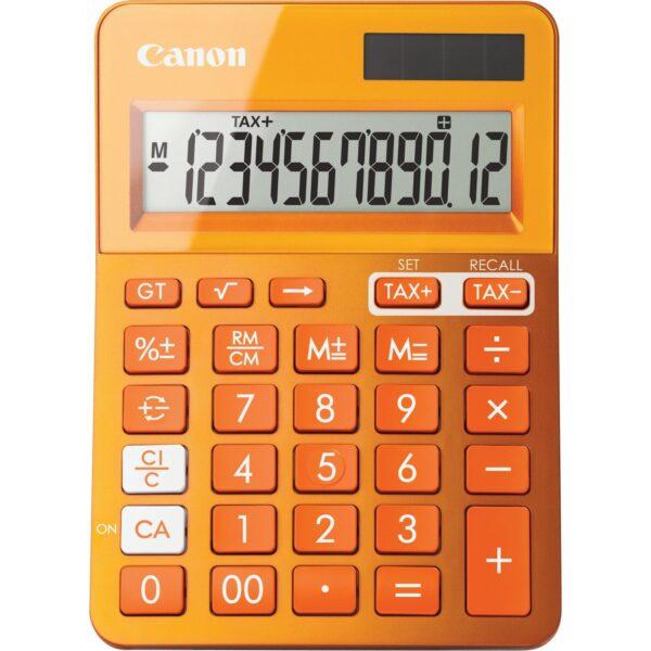 "Calculator de birou CANON, LS-123K OR, ecran 12 digiti, alimentare solara si baterie, display LCD, functie business, tax si conversie moneda, portocaliu, include TV 0.1 lei ,""BE9490B004AA"""