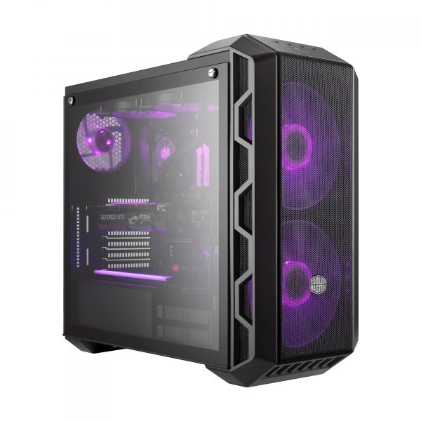 "CARCASA COOLER MASTER Middle-Tower ATX, MasterCase H500, w/ RGB controller, tempered glass, 2* 200mm RGB LED & 1* 120mm fan (incluse), I/O panel, grey ""MCM-H500-IGNN-S00"""