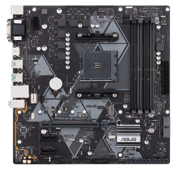 """Placa de baza Asus AM4, PRIME B450M-A, 4 *DIMM, Max. 64GB, DDR4 3200 (O.C.)/3000(O.C.)/2800(O.C.)/2666/2400/2133 Un-buffered Memory, 1x D- Sub/DVI/HDMI, 2x PCIe 3.0/2.0 x16, 2x PCIe 3.0/2.0 x1, 4x SATA 6.0 Gb/s, 6x USB 3.1, 4x USB 2.0, Micro ATX """"PR"""""""