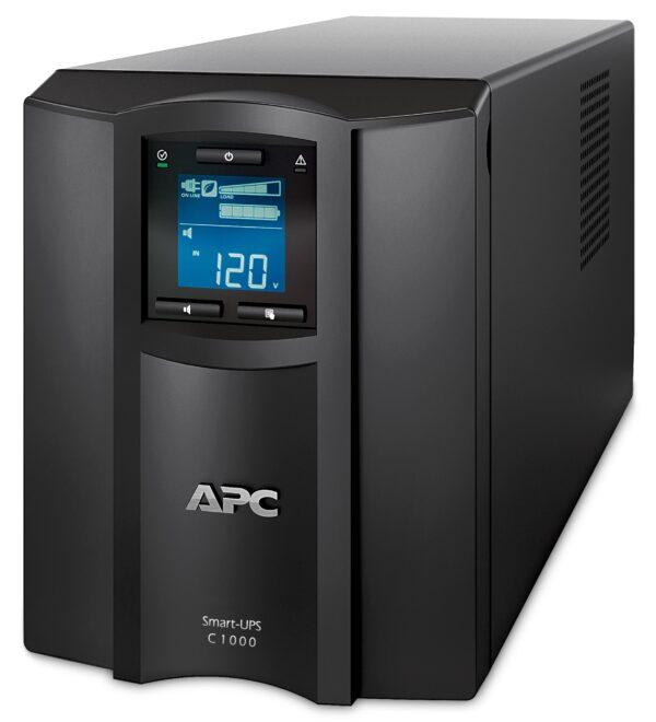 "UPS APC, ""Smart-UPS C"", Line Int. cu sinusoida pura cu management, mini tower, 1000VA / 600W, AVR, IEC x 8, 1 x baterie APCRBC141, display LCD, back-up 21 – 30 min., ""SMC1000IC"", SP prelungire garantie (WBEXTWAR1Y R-SP-02/WBEXTWAR3YR-SP-02),"