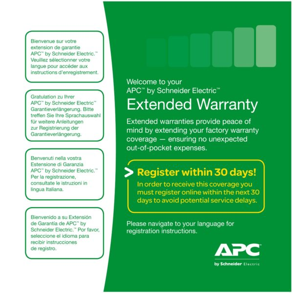 "Extensie garantie APC 1 an pentru produs nou valabila pentruSMC1500I/1500I-2U, SMT1000RMI2U/1500I/1500RMI2U/2200I, SMX1500RMI2U ""WBEXTWAR1YR-SP-03"""