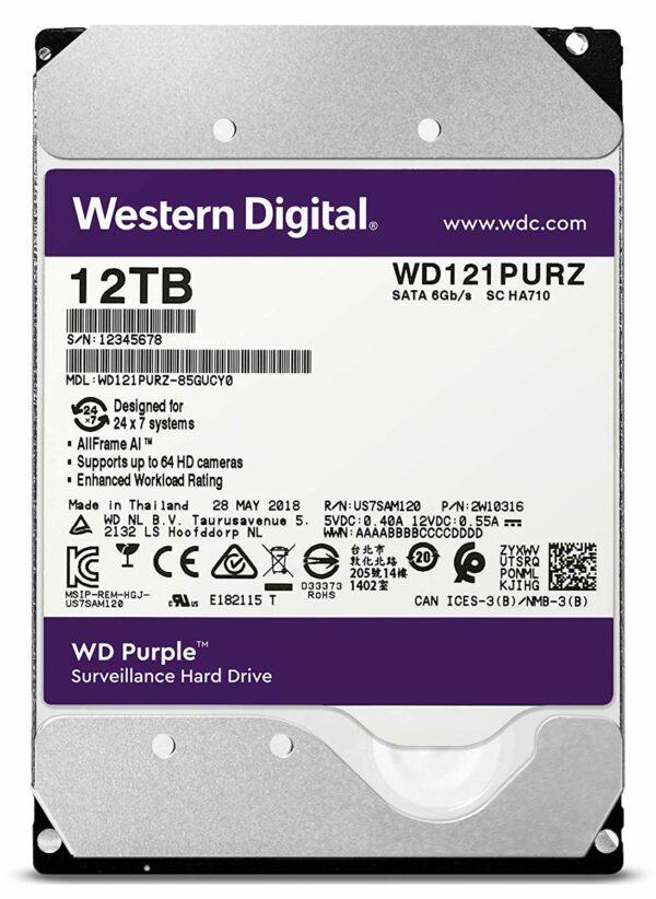 """HDD WD 12 TB, Purple, 7.200 rpm, buffer 256 MB, pt. supraveghere, """"WD121PURZ"""""""