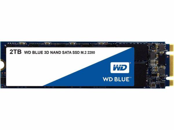 """SSD WD, Blue, 2TB, M2 2280, SATA3, 6 GB/s, R/W speed: up to 560MBs/530MBs """"WDS200T2B0B"""""""