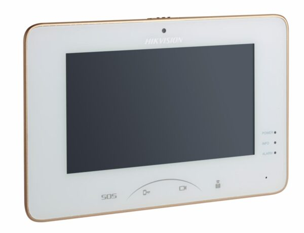 """Monitor videointerfon color Hikvision DS-KH8301-WT, 0.3MP7″Touch-ScreenIndoor Station, Mechanical Switch, 7-inch Colorful TFT LCD,displayresolution: 1024 * 600, Camera resolution: 640 * 480 ,10/100MbpsEthernet, """"DS-KH8301-WT"""""""