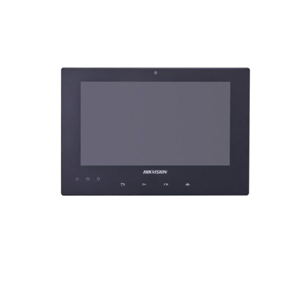 "Monitor de interior pe 2 fire Hikvision; montaj pe 2 fire; 7-Inch Colorful TFT LCD, Touch Screen, Touch Button; resolution: 1024×600, Two-wire interface, Wall mounting; Supports monitoring the door station and ext IP cam""DS-KH8340-TCE2″"