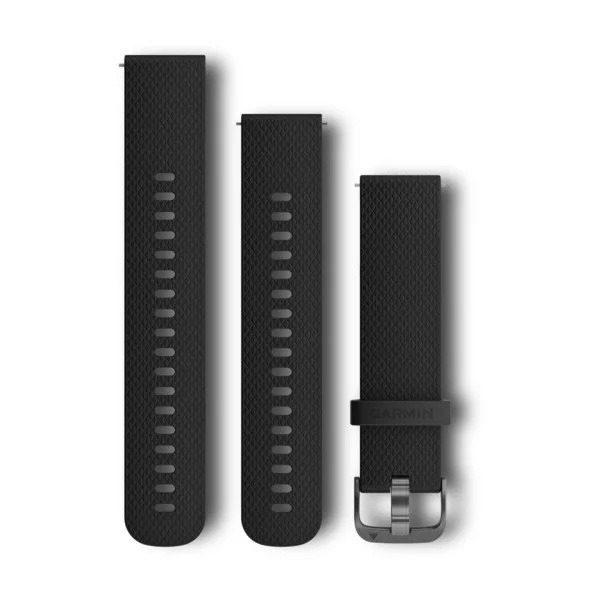 """Curea ceas Garmin Vivoactive 3, Replacement band, silicone, culoare negru cu slate steel, 2 marimi incluse """"010-12561-03"""""""