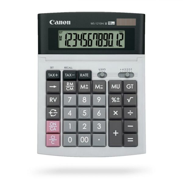 "Calculator de birou CANON, WS-1210THB, ecran 12 digiti, alimentare solara si baterie, display LCD, negru, include TV 0.1 lei ,""0694B001AC"""