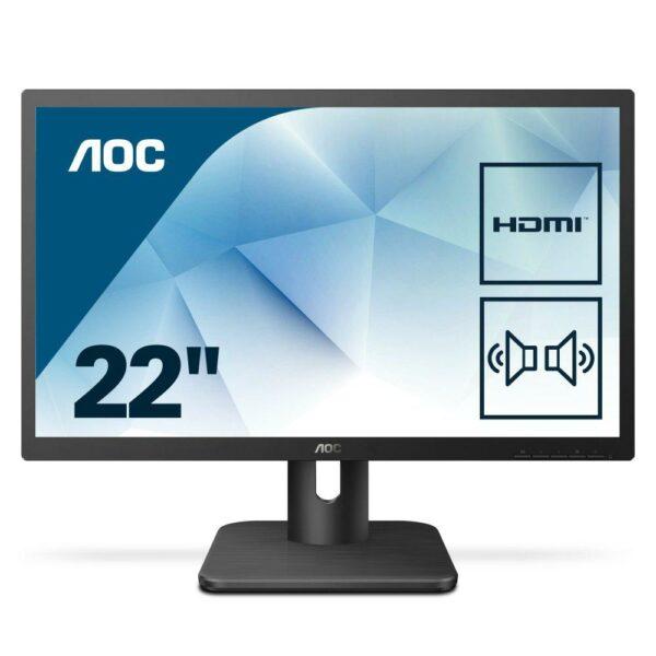 """MONITOR AOC 21.5″, home or office, TN, Full HD, 1920 x 1080, 60 Hz, Wide, 250 cd/mp, 2 ms, VGA, DVI, HDMI, boxe incorporate, """"22E1D"""""""