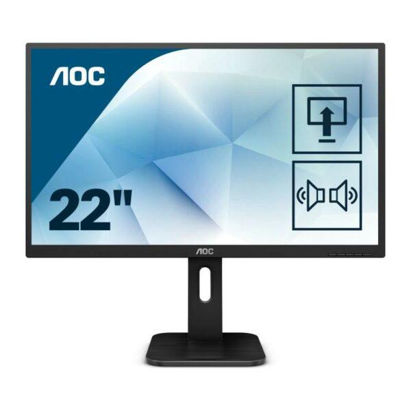 """MONITOR AOC 21.5″, home or office, TN, Full HD, 1920 x 1080, 60 Hz, Wide, 250 cd/mp, 2 ms, VGA, DVI, HDMI, boxe incorporate, """"22P1D"""""""