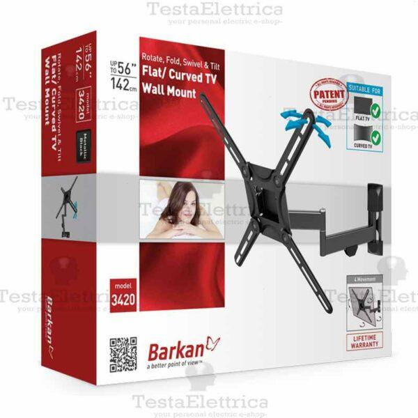 """SUPORT de perete BARKAN, pt 1 TV/monitor plat, curbat, diag. max 65 inch, orizontala, inclinare, max 40 Kg, """"3300.B"""""""