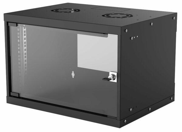 "CABINET 19″ INTELLINET 6U Basic, fixare pe perete, Flatpack (dezasamblat), Black, fara capac spate, 353 (h) x 540 (w) x 400 (d) mm ""714143"""