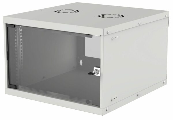 "CABINET 19″ INTELLINET 6U Basic, fixare pe perete, Flatpack (dezasamblat), Gray, fara capac spate, 353 (h) x 540 (w) x 400 (d) mm ""714150"""