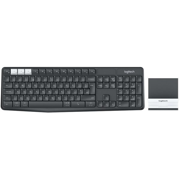 """LOGITECH K375s Multi-Device Wireless Keyboard and Stand Combo – GRAPHITE/OFFWHITE – UK – 2.4GHZ/BT – INTNL """"920-008177"""" (include TV 0.75 lei)"""
