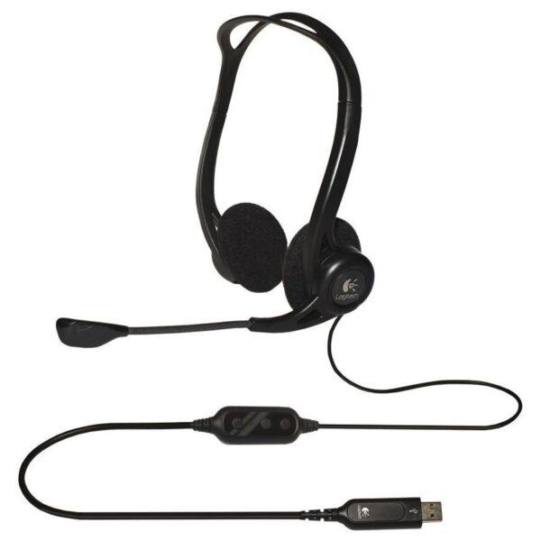 """CASTI Logitech, """"PC 960"""", cu fir, standard, utilizare multimedia, call center, microfon pe brat, conectare prin USB 2.0, negru, """"981-000100"""", (include TV 0.75 lei)"""