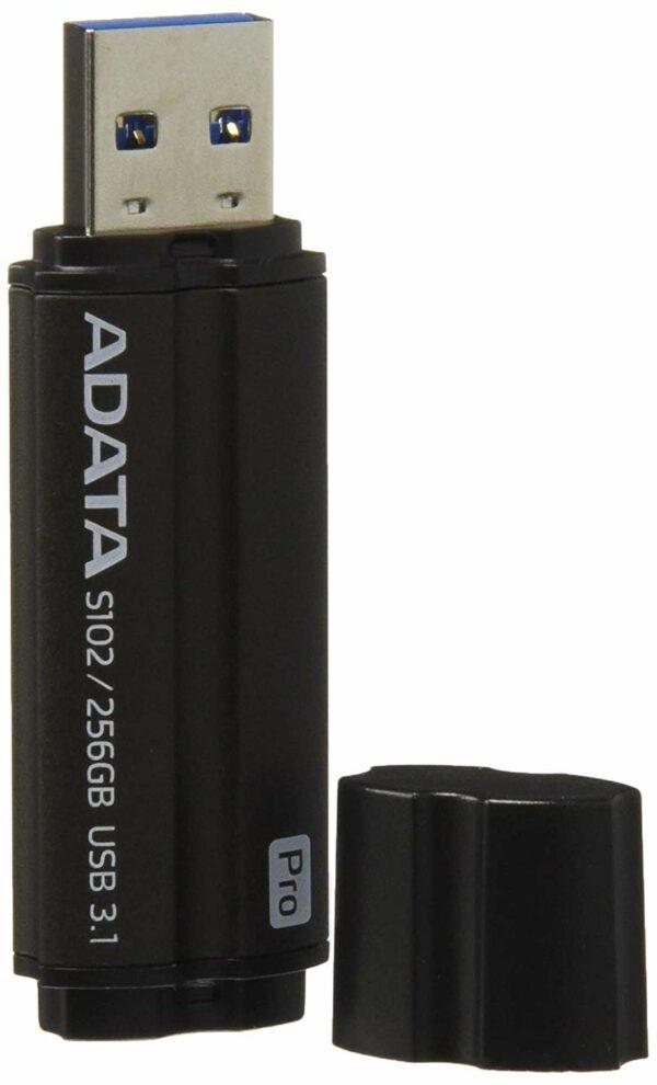 """MEMORIE USB 3.1 ADATA 256 GB, cu capac, negru, carcasa aluminiu """"AS102P-256G-RGY"""""""