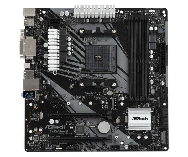 """Placa de baza ASROCK AMD B450M PRO4-F, 4 x DDR4 DIMM Slots, AMD Ryzen series CPUs (Pinnacle Ridge) support DDR4 3200+(OC) / 2933(OC) / 2667/2400/2133 ECC & non-ECC, MICRO ATX. """"B450M PRO4-F"""""""