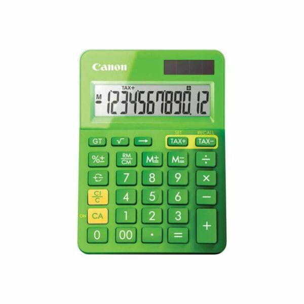 "Calculator de birou CANON, LS-123k GR, ecran 12 digiti, alimentare baterie, display LCD, functie business, tax si conversie moneda, verde, include TV 0.1 lei ,""BE9490B002AA"""