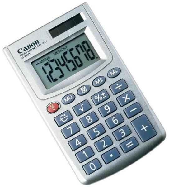 """Calculator birou Canon LS270HBL, 8 digiti, display LCD,alimentarebaterie si soalra, functie de marcare, culoare argintiu """"BE5932A003AA"""""""
