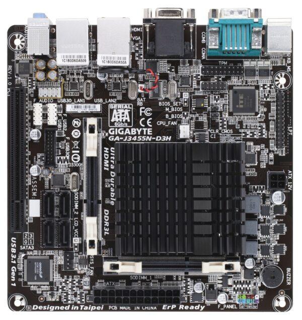 """PLACA de BAZA GIGABYTE J3455N-D3H, skt CPU integrat, Intel, mini ITX, slot RAM 2 x DDR3, max 16 GB, 4x S-ATA 3, nux M.2, 1x PCI-E, LAN 1000 Mbps x 2, HDMI, VGA, 7.1, """"J3455N-D3H"""""""