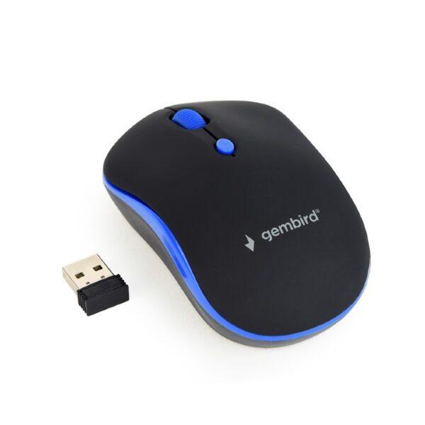 "MOUSE GEMBIRD NB sau PC, wireless, optic, 1600 dpi, butoane/scroll 4/1, negru / albastru, ""MUSW-4B-03-B"" (include TV 0.15 lei)"