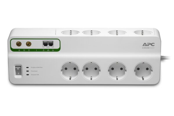 """PRELUNGITOR APC, Schuko x 8, conectare prin Schuko (T), RJ-11 x 2, coaxial x 2, cablu 3 m, 10 A, protectie supratensiune, protectie telefon, protectie TV, alb, """"PMF83VT-GR"""""""