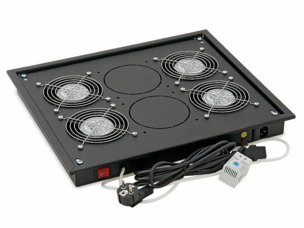 """PANOU ventilatie TRITON pentru rack de podea 19″, 4 ventilatoare 230V/60W cu termostat, flux axial, negru """"RAB-CH-X04-X3"""""""