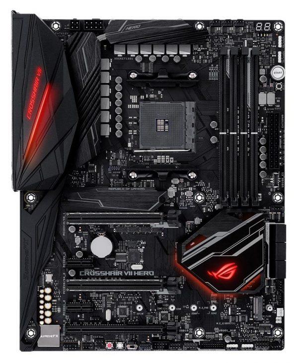 "AMD X470, SAM4, ATX, 2xPCI-Express 2.0 1x, 1xPCI-Express 2.0 16x, 3xPCI-Express 3.0 16x, 2xM.2, DDR4, 3466/3200/3000/2933/2800/2666/2400/2133 MHz, Memory slots 4, ""ROG CROSSHAIR VII HERO"""