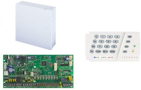 """CENTRALA alarma PARADOX, panou control SP6000, 8 intrari de zona sau 16 cu ATZ, extensibila la 32 zone; trigger PGM +/; intrare pentru detectori de fum, pe 2 fire; Include tastatura K636-1buc """"SP6000+CUTIE+K636"""""""