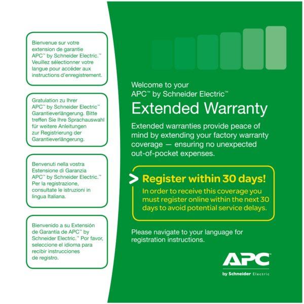 """Extensie garantie APC 1 an pentru produs nou valabila pentruSMC1000I-2U, SMT750I/750RMI2U/1000I, SMX750I/1000I """"WBEXTWAR1YR-SP-02"""""""