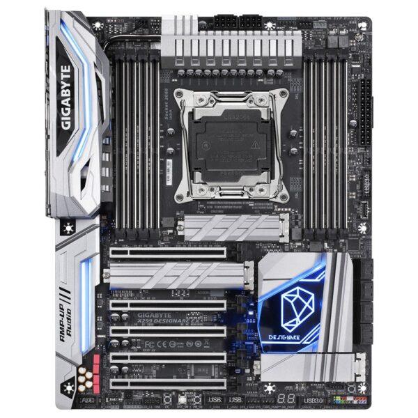"""PLACA de BAZA GIGABYTE X299 DESIGNARE EX, skt LGA 2066, Intel X299, ATX, slot RAM 8 x DDR4, max 128 GB, 6x S-ATA 3, 3x M.2, nux PCI-E, PCI-E3.0x16 x 2, PCI-E3.0x8 x 1, PCI-E3.0x4 x 2, LAN 1000 Mbps x 2, Display Port x 2, 7.1, """"X299 DESIGNARE EX"""""""