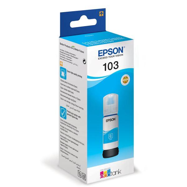 """Cartus Cerneala Original Epson Cyan, nr.103, pentru L1110 L3110 L3150 L3151 L3156 L3160 L5190, 65ml, incl.TV 0.11 RON, """"C13T00S24A"""""""
