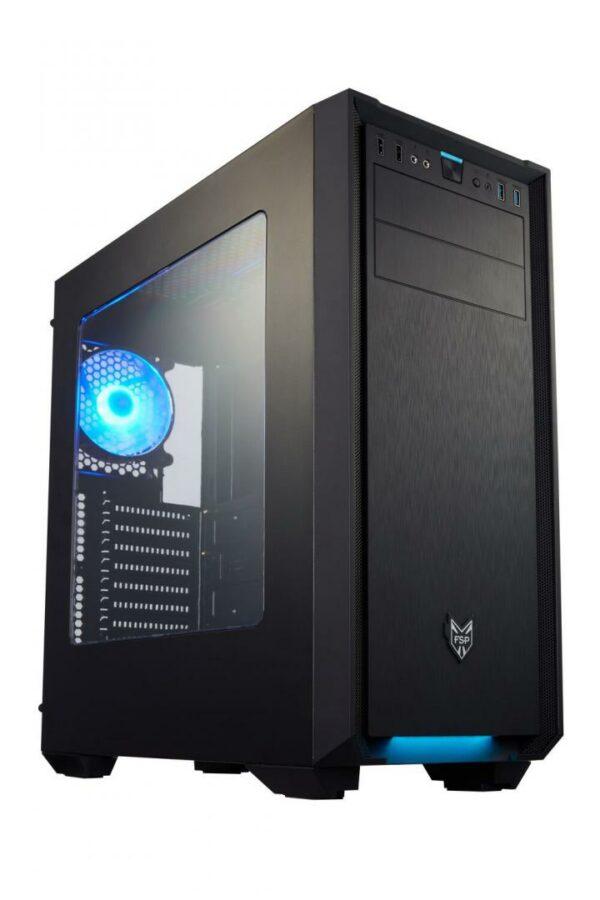 "CARCASA FORTRON, Middle Tower, ATX, ""FSP CMT330"", fara sursa, plexiglas transparent, 3 x fan, USB 2.0 x 2, USB 3.0 x 2, Jack 3.5mm x 2, mesh , ""CMT330"""