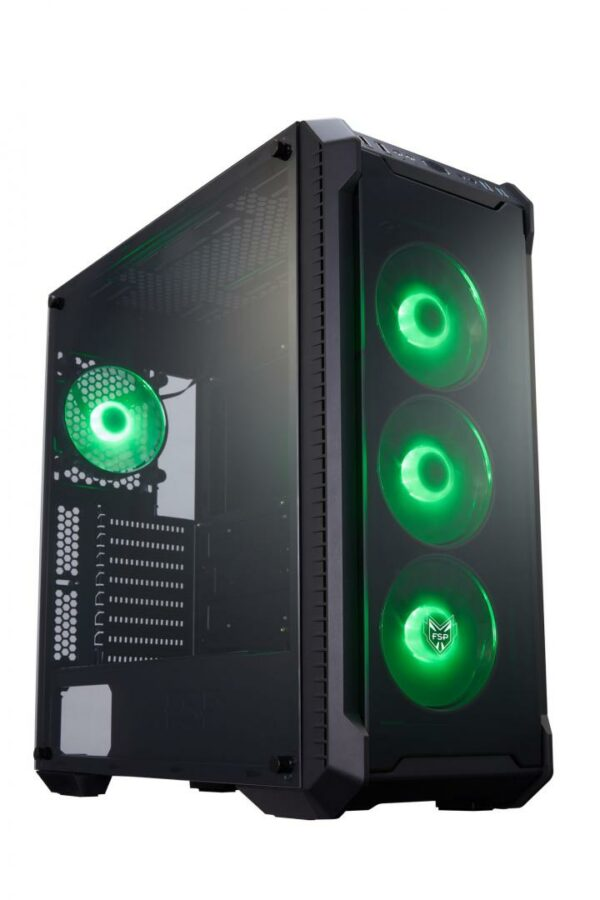 "Carcasa FSP CMT520, fara sursa, Middle Tower, E-ATX, 2xUSB3.0, 2xUSB2.0, HD audio; vent. incluse: fata 3x12cm RGB LED, spate 1x12cm, vent. opt.: sus 2x12cm, spate 1x12cm, pozitionare sursa: jos, neagra ""CMT520"""