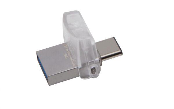 "MEMORIE USB 3.0 | USB 3.0 Type-C KINGSTON 128 GB, profil mic | OTG, carcasa metalic & plastic, alb / argintiu, ""DTDUO3C/128GB"""