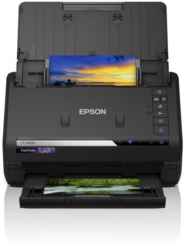 "Scanner Epson FASTFOTO FF-680W, dimensiune A4, tip sheetfed, viteza scanare: 46ppm alb-negru si color, rezolutie optica 6400x9600dpi, senzor CIS, Duplex, interfata: USB 3.0, Wireless ""B11B237401"""