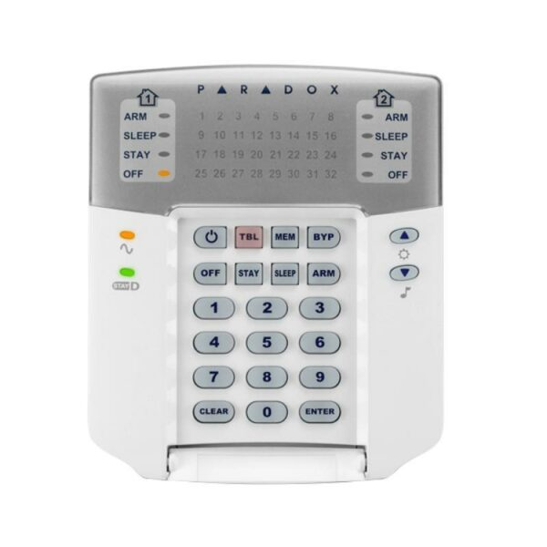 """TASTATURA alarma Paradox, cu fir, 32 zone, compatibil: SP, MG Stay D, LED-uri indicatoare separate de stare pentru 2 partitii, """"K32+"""""""