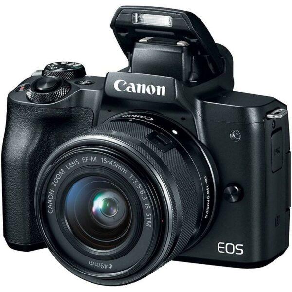 "Camera foto Canon EOS M50 Black KIT EF-M15-45 IS STM, 24.1 MP, DIGIC 8, ecran 3″ LCD touchscreen, WiFi, NFC, ISO 25600, filmare 4K 24fpf,Full HD 60fps, foloseste tehnologia Dual Pixel, compatibil SD/SDHC/SDXC, HDMI micro ""2680C070AA"""