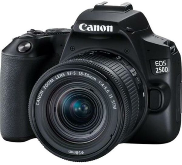 """Camera foto Canon DSLR EOS 250D + 18-55 IS STM kit, Black, 24.1MP, Dual Pixel CMOS, LCD 3″ rabatabil, DIGIC 8, ISO Auto (100-25600), filmare 4K 25 fps, Full HD 50fps, HDMI mini,WI-FI, Bluetooth, acumulator Li-ion LP-E17, negru """"3454C007AA"""""""