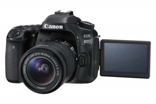 "Camera foto Canon EOS80D EF18-55S, 24MP, CMOS,3″ TFT fully articulated, DIGIC 6, 7 cadre / sec, ISO 100-16000,FullHD movies 30fps, compatibil SD/SDHC/SDXC, 1/8000, HDMI,USB,acumulator Li-ion LP-E6N ""AC1263C011AA"""
