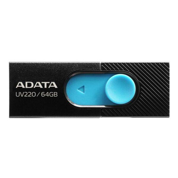 """USB Flash Drive ADATA UV220 64Gb, black/blue retail, USB 2.0 """"AUV220-64G-RBKBL"""""""
