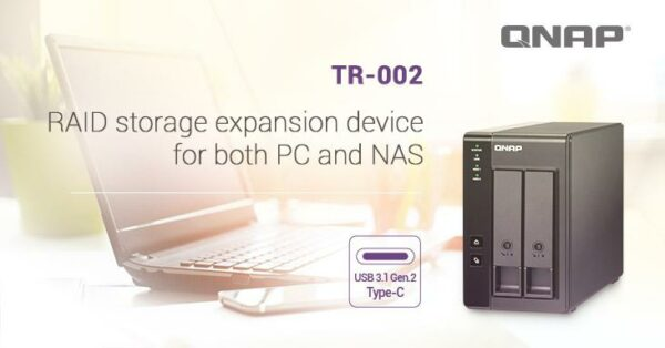 "QNAP 2-bay 3.5-inch SATA HDD USB 3.1 Gen2 Type-C hardware RAID 0/1 external enclosure, diskless, key lock; ""TR-002"""
