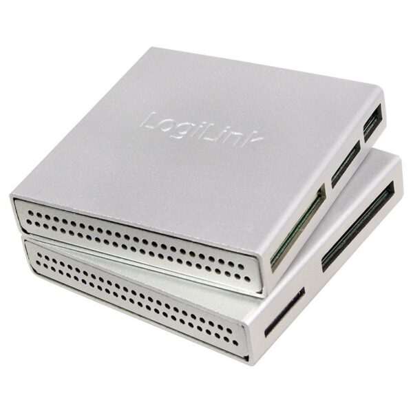 "USB 2.0 Cardreader, all-in-one, aluminum housing, silver ""CR0018"""