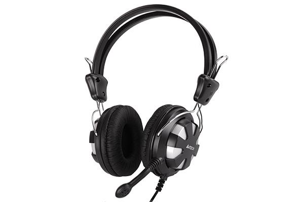 """Casti A4TECH Comfortfit, microfon pe fir, control volum pe casca, silver/black """"HS-28-2"""""""